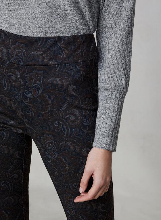 Pantalon taille pull-on à imprimé cachemire, Noir