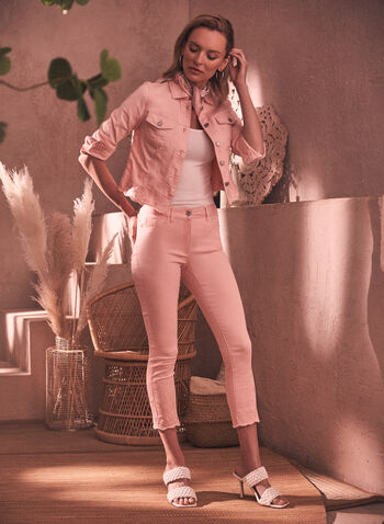 Charlie B - Embroidered Jeans, Pink,  spring summer 2021, denim, pants, bottoms, jeans, made in Canada, classic fit, zipper, embroidery, waves,
