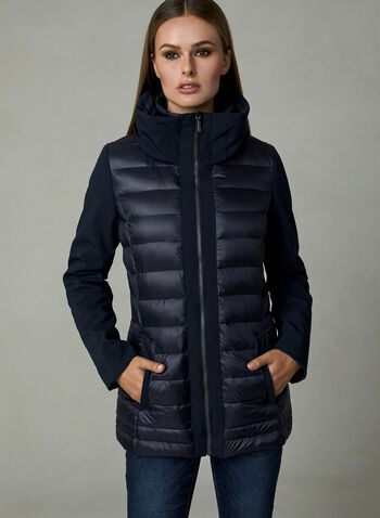 Quilted Down Coat, Blue, hi-res