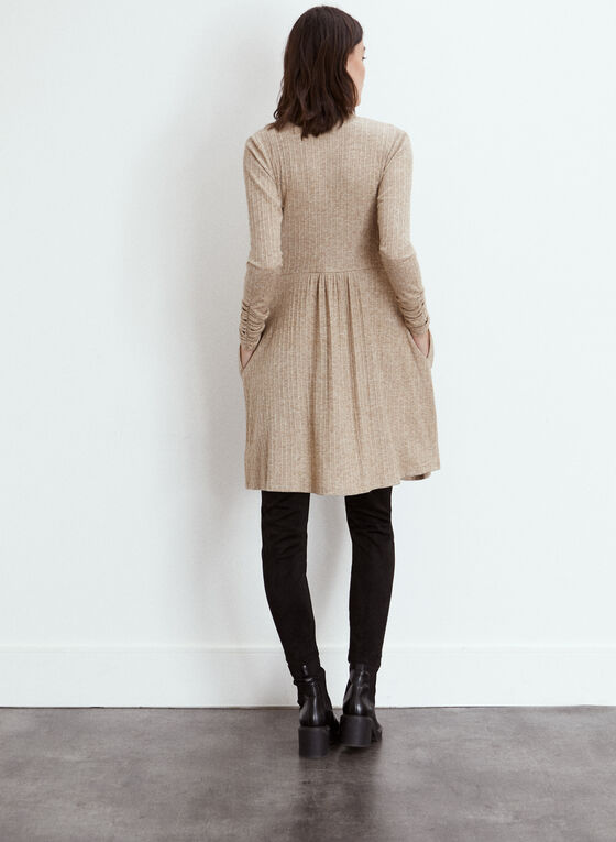 Long Ribbed Knit Cardigan, Beige