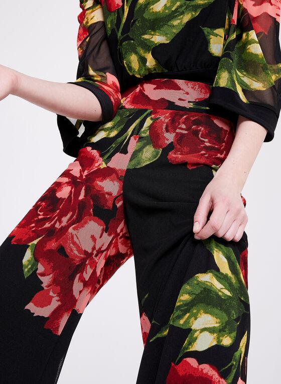 Frank Lyman - Floral Print Wide Leg Pants, Black, hi-res