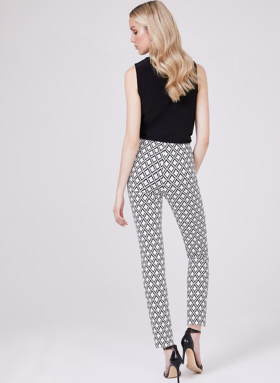 Joseph Ribkoff - Geometric Print Bengaline Pull-On Pants, White, hi-res