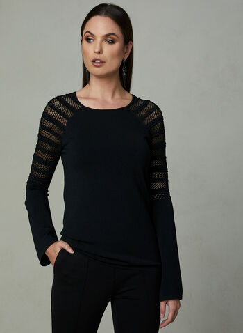 Pointelle Knit Long Sleeve Sweater	, Black, hi-res