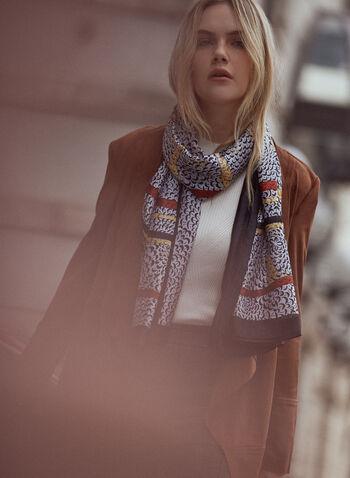 Foulard léger à bordures contrastantes, Noir,  accessoire, foulard, écharpe, léger, contrastes, motif, imprimé, boucle, abstrait, automne 2021