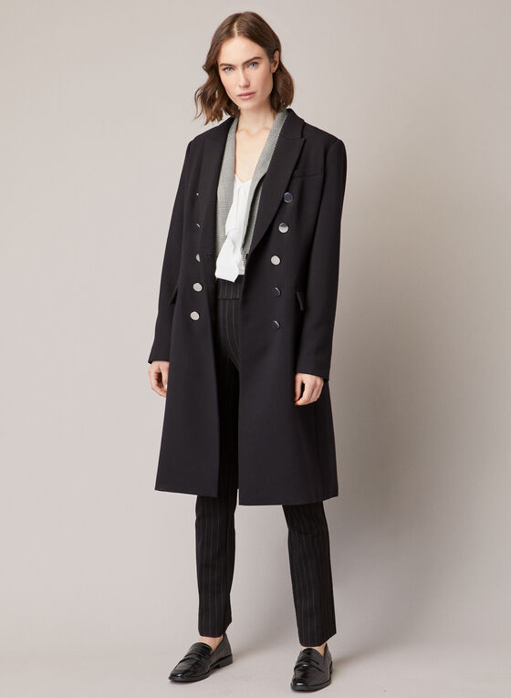 Notched Collar Military Style Coat, Black