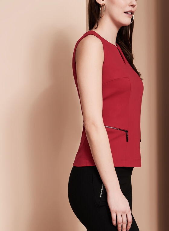 Split Neck Zipper Trim Top, Red, hi-res