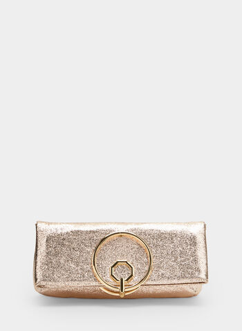 Ring Handle Metallic Clutch, Gold, hi-res