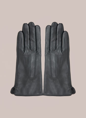 Three Point Leather Gloves, Black,  Fall winter 2020, gloves, real, genuine, leather, three point