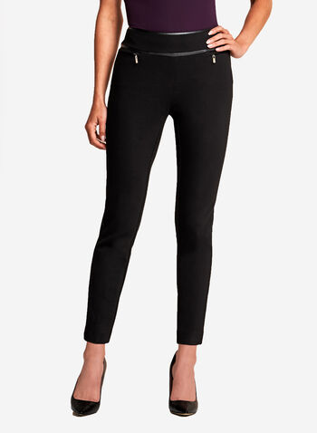 Slim Leg Faux Leather Trim Pants, Black, hi-res