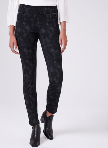Madison Floral Print Pants, Black, hi-res