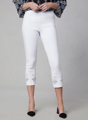 Embroidered Capri Pants, White,  capri pants, embroidery, pull-on, elastic waist, spring 2019