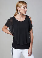 Chiffon Overlay Top, Black, hi-res