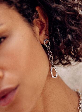 Triple Link Tiered Earrings, Silver,  fall winter 2021, accessory, accessories, chain link, dangle, tier, silver metal,