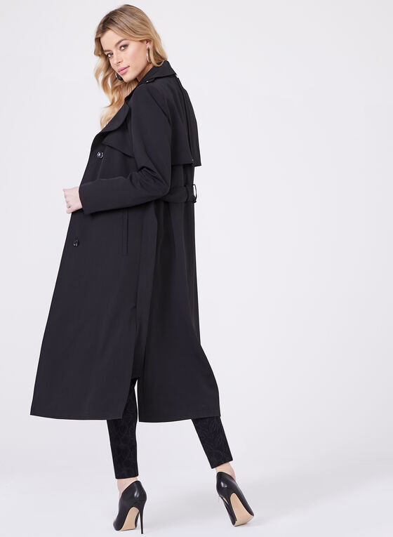 Novelti – Long Belted Gabardine Trench Coat, Black, hi-res