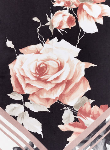Vince Camuto - Foulard oblong motif de roses, Noir, hi-res