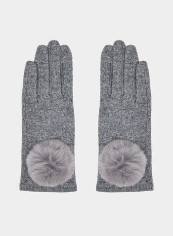 Fur Pompom Wool Gloves, Grey, hi-res,  fur gloves
