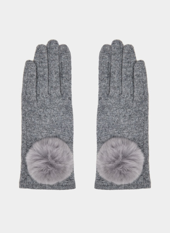Fur Pompom Wool Gloves, Grey