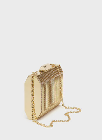 Metallic Grill Box Clutch, Gold, hi-res