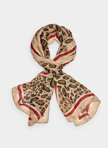 Vince Camuto - Leopard Print Scarf, Brown, hi-res,  leopard print, animal print, long scarf, contrast trim, fall 2019, winter 2019