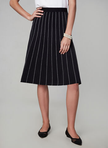 Stripe A-Line Skirt, Black,  a-line, nylon, midi, elastic, stretch, skirt, stripes, fall 2019, winter 2019