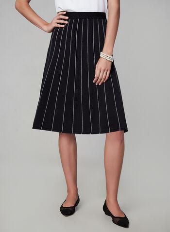 Jupe coupe A à coutures contrastantes, Noir, hi-res,  longueur midi, élastique, extensible, taille pull-on, à enfiler, automne hiver 2019