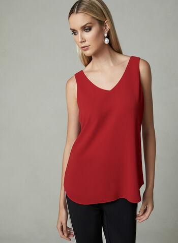 V-Neck Crepe Sleeveless Blouse, Red,