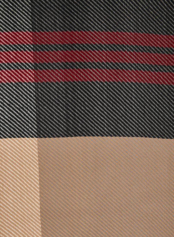 Foulard à carreaux et franges, Noir