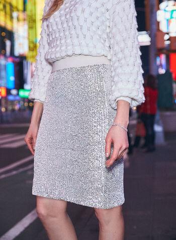 Jupe crayon à sequins, Blanc cassé,  automne hiver 2020, jupe, pull-on, à enfiler, taille élastique, tricot, crayon, sequins, strass, paillettes