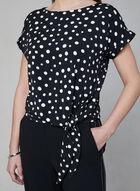 Polka Dot Print Tie Detail Top, Black, hi-res
