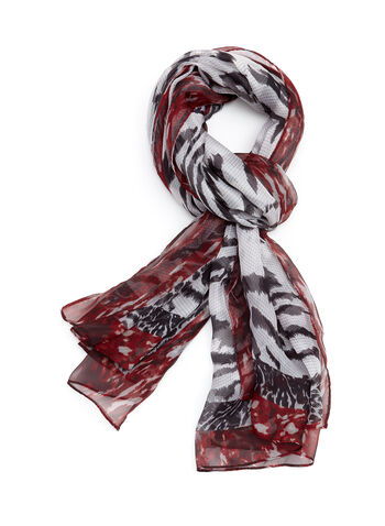 Mixed Animal Print Scarf, Red, hi-res
