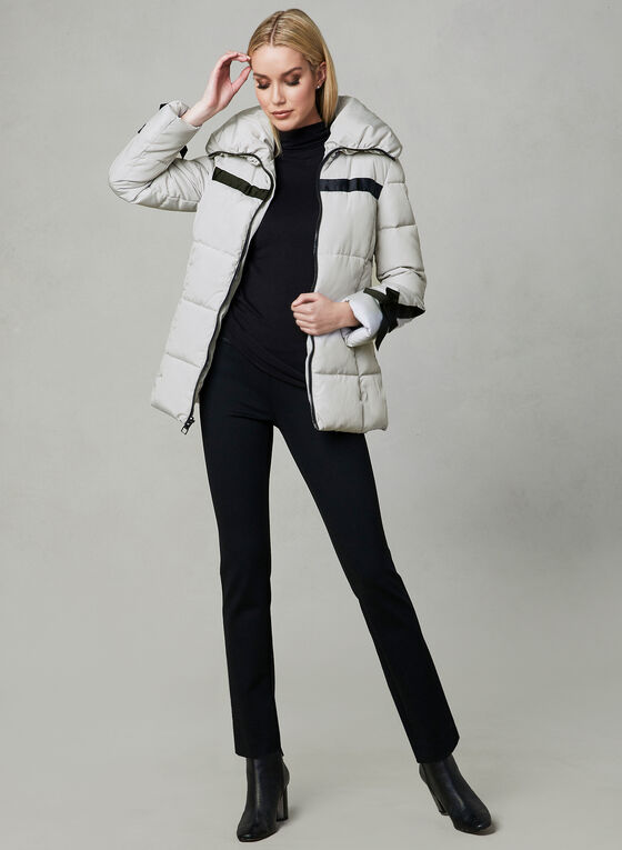 Karl Lagerfeld Paris - Bow Sleeve Coat, Silver, hi-res