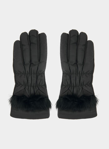 Gloves With Faux Fur Trim, Black, hi-res,  gloves, faux fur, fall 2019, winter 2019