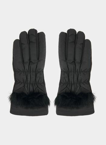 Gants à bordure en fausse fourrure, Noir, hi-res,  gants, fausse fourrure, automne hiver 2019