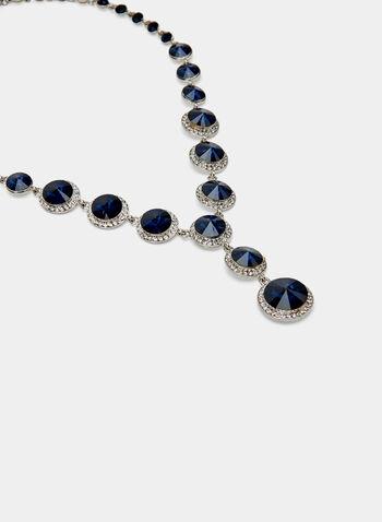 Collier à pierres rondes et cristaux, Bleu, hi-res