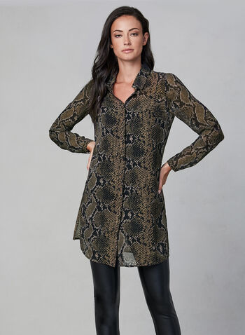 Linea Domani - Snake Print Tunic Top, Black, hi-res,  long sleeve, snakeskin, transparent fabric, fall 2019, winter 2019