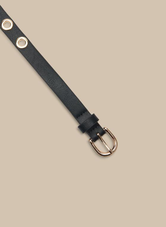 Eyelet Detail Leather Belt, Black