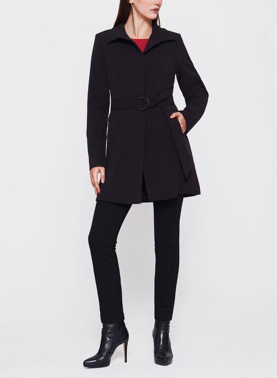Belted Wool Like Coat, Black, hi-res