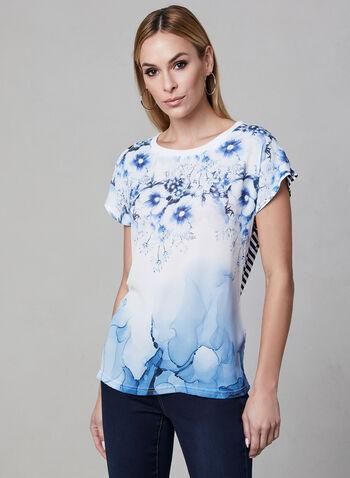 Vex - Haut bi-matière à fleurs et rayures, Bleu, hi-res