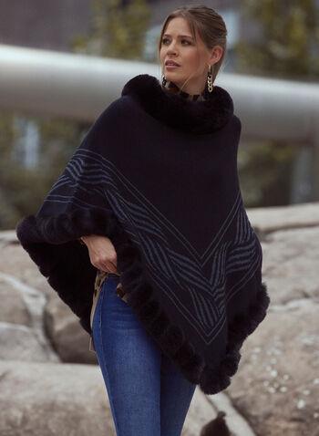 Faux Fur Trim Poncho, Black,  fall winter 2021, accessories, warm, blanket, cozy, poncho, faux fur, fur, fringe, fringed, scoop neck, trim, asymmetric, wave, border, printed, layer