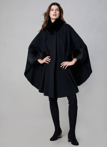 Mallia - Wool & Cashmere Blend Cape, Black,  fall winter 2019, wool, cashmere, fox fur, outerwear, jacket, poncho