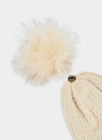 Faux Fur Pompom Tuque, Brown, hi-res,  fall winter 2019, rib knit, fur pompom
