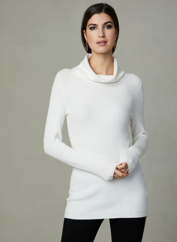 Cowl Knit Sweater, Off White, hi-res