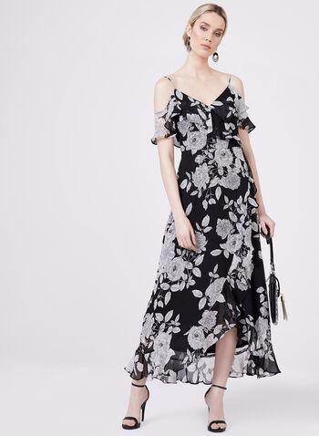 Maggy London - Robe fleurie à fines bretelles et effet drapé, Noir, hi-res