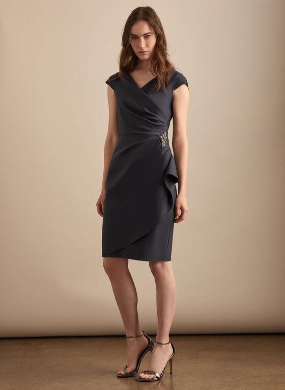 Alex Evenings - Brooch Detail Sheath Dress, Grey