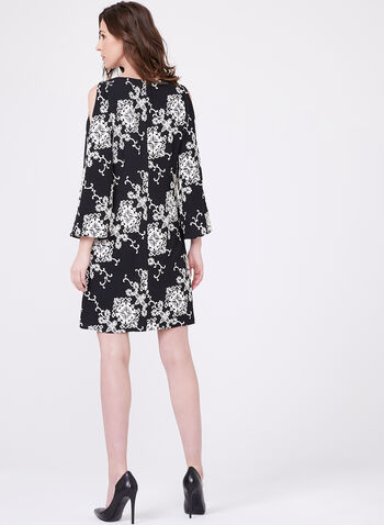 Adrianna Papell - Crepe Puff Print A-Line Dress, Black, hi-res