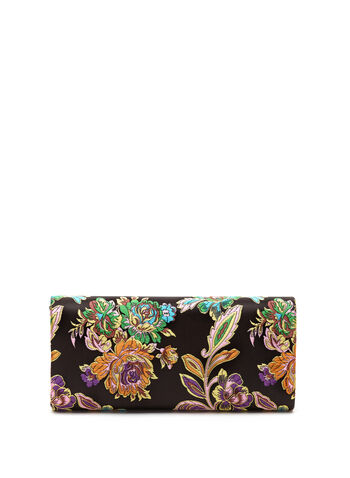 Floral Embroidered Clutch, Black, hi-res