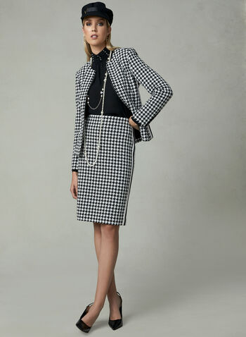 Houndstooth Knit Jacket, Black, hi-res