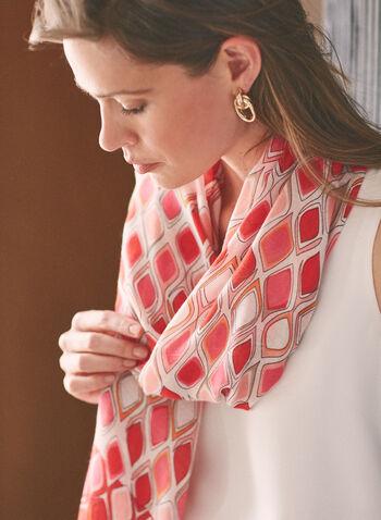 Diamond Print Lightweight Scarf, Red,  accessories, scarf, lightweight, geometric print, tassel, fringe, spring summer 2021