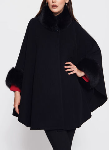 Mallia - Fur Trimmed Cashmere Cape, Black, hi-res