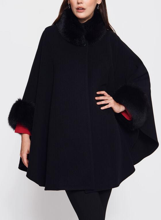Mallia - Fur Trimmed Cashmere Cape, Black, hi-res